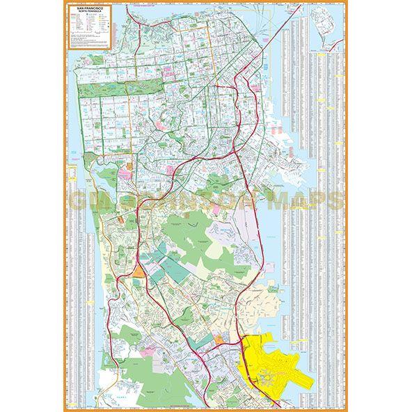 San Francisco / North Peninsula, California Street Map - GM Johnson Maps