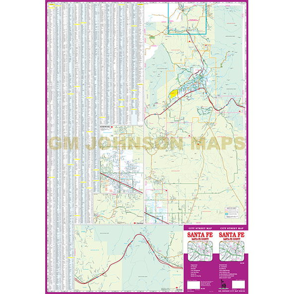 Santa Fe Santa Fe County New Mexico Street Map GM Johnson Maps