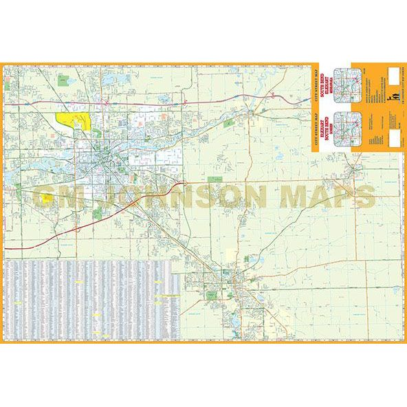 South Bend Elkhart Indiana Street Map GM Johnson Maps