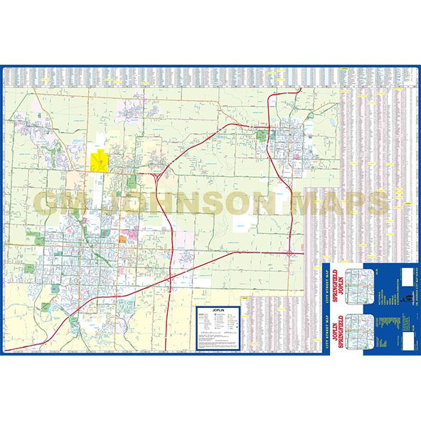 Springfield Joplin Missouri Street Map GM Johnson Maps