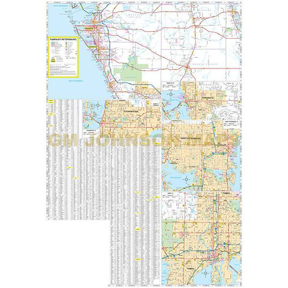 Tampa St Petersburg Ocala to Sarasota Florida Regional Map GM