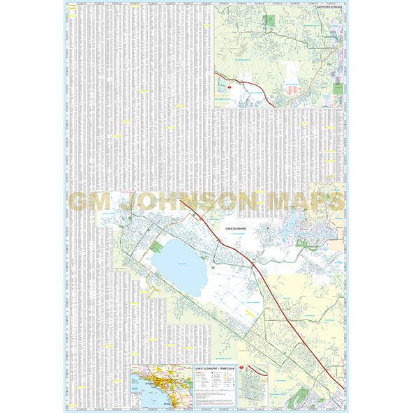 Temecula Lake Elsinore Murrieta California Street Map GM