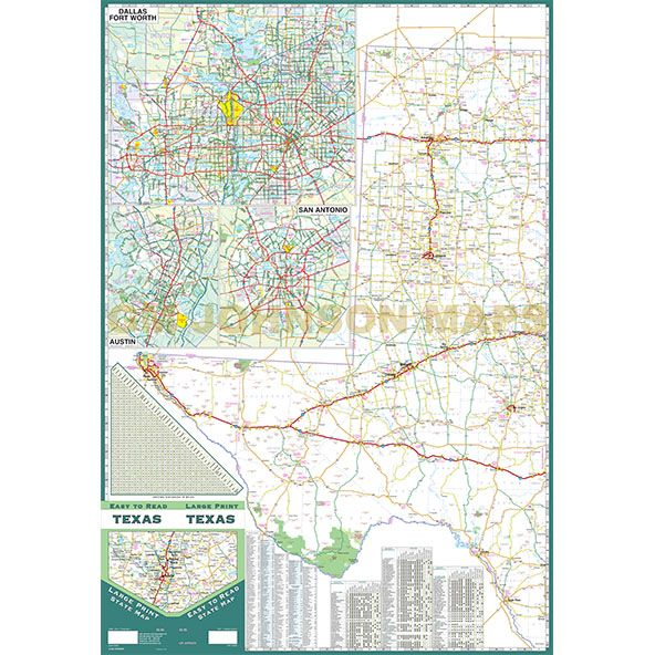 Texas Large Print Texas State Map GM Johnson Maps - Texas state map