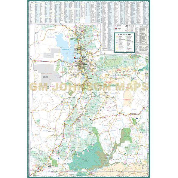 picture regarding Printable Map of Utah known as Utah Enormous Print, Utah Country Map - GM Johnson Maps