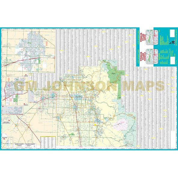 Visalia Hanford Tulare Kings Counties California Street Map