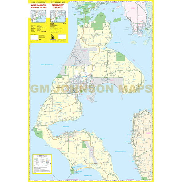 Map Of Camano Island Whidbey Island, Washington Street Map   GM Johnson Maps