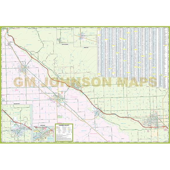Yakima Yakima County Washington Street Map GM Johnson Maps
