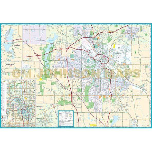 Youngstown / Warren / Trumbull & Mahoning Counties, Ohio Street Map ...