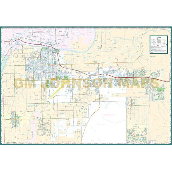 Street Map Of Yuma Arizona.Yuma Yuma County Arizona Street Map Gm Johnson Maps
