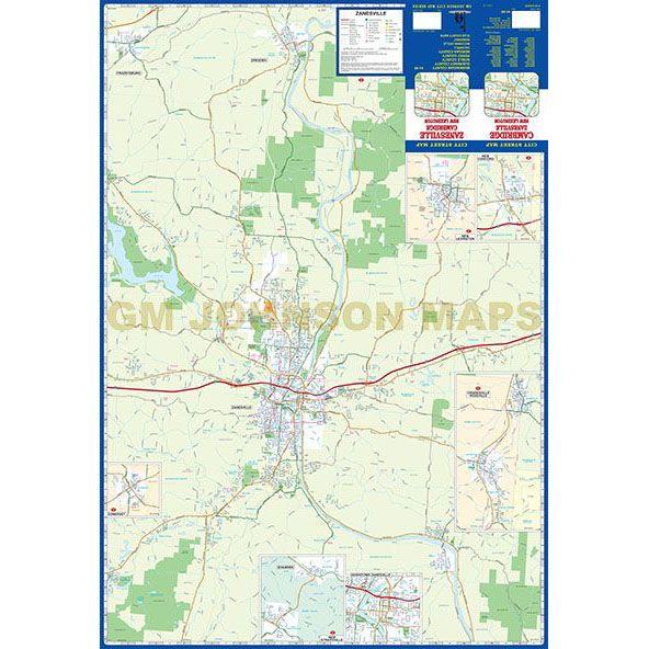 Zanesville / Cambridge / New Lexington, Ohio Street Map - GM Johnson on